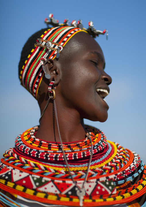Laughing samburu woman with traditional jewellry, Samburu county, Samburu national reserve, Kenya