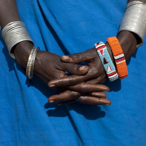 Samburu tribe woman hands with beaded bracelets, Samburu County, Maralal, Kenya
