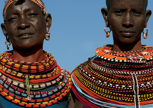 Portrait of Samburu tribe women with beaded necklaces, Samburu County, Maralal, Kenya
