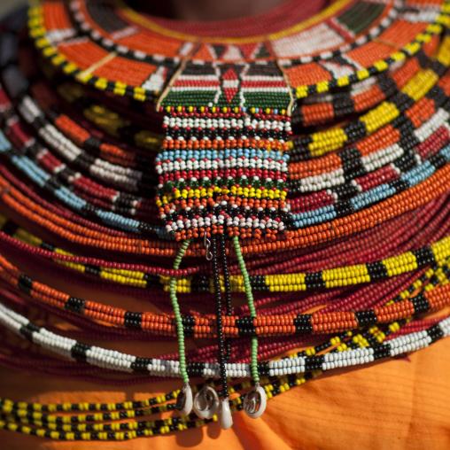 Samburu tribe woman with beaded necklaces, Samburu County, Maralal, Kenya