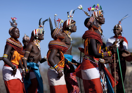 Samburu tribe people dancing during a ceremony, Samburu County, Maralal, Kenya