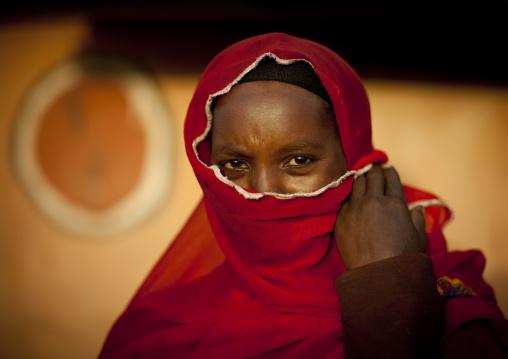 Portrait of a muslim Borana tribe woman hiding her face with a veil, Marsabit County, Marsabit, Kenya