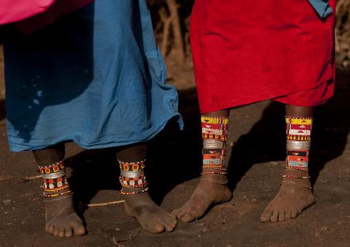 Rendille tribe women feet with beaded ankles, Marsabit County, Marsabit, Kenya