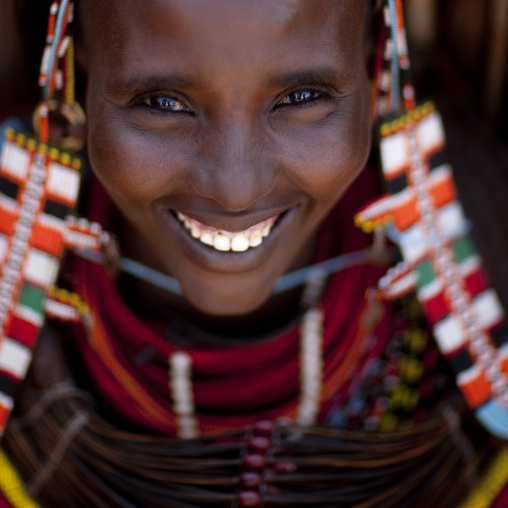 Portrait of a smiling Rendille tribe woman, Marsabit County, Marsabit, Kenya
