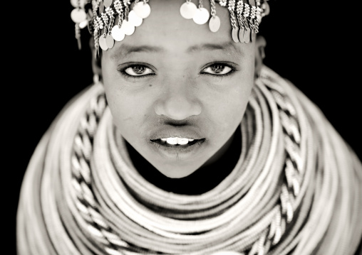 Portrait of a Rendille tribe young woman with beaded necklaces, Marsabit County, Marsabit, Kenya