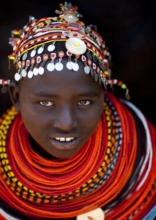 Portrait of a Rendille tribe young woman with beaded neckalces, Marsabit County, Marsabit, Kenya