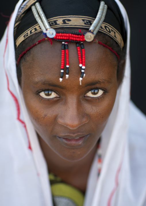 Gabbra tribe woman with traditional headgear, Chalbi desert, Kalacha, Kenya