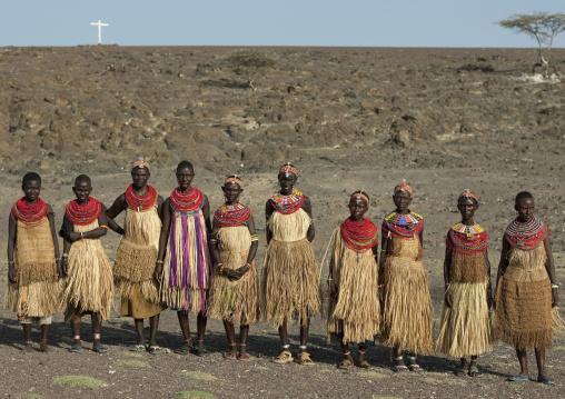 El molo tribe women with traditional clothing, Rift Valley Province, Turkana lake, Kenya