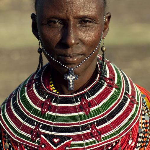 Portrait of an El Molo tribe woman, Rift Valley Province, Turkana lake, Kenya