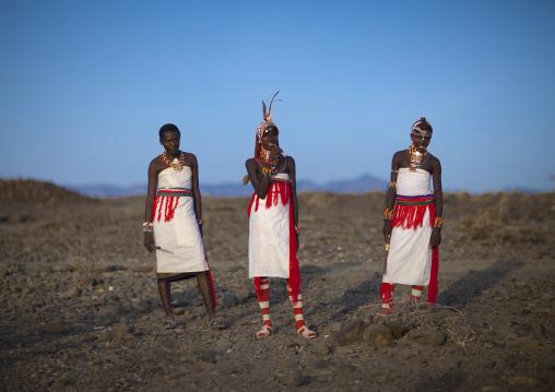 Portrait of rendille warriors wearing traditional headwears, Marsabit district, Ngurunit, Kenya