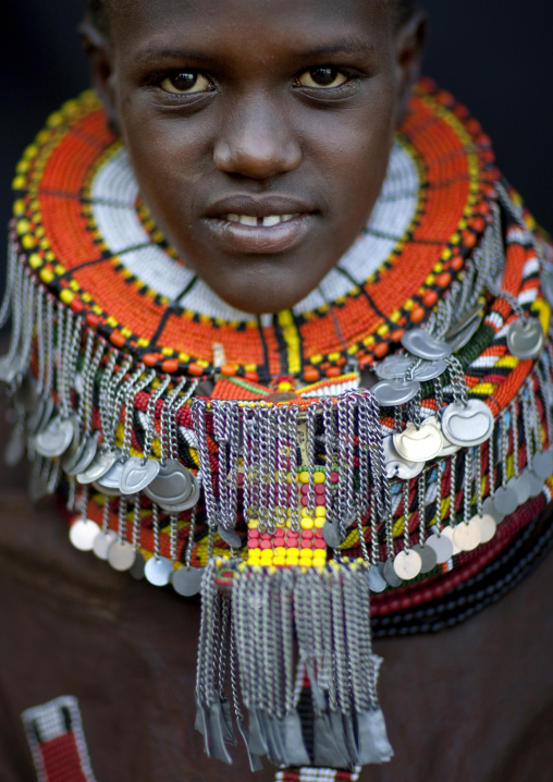 Portrait of a young Turkana tribe woman, Rift Valley Province, Turkana lake, Kenya