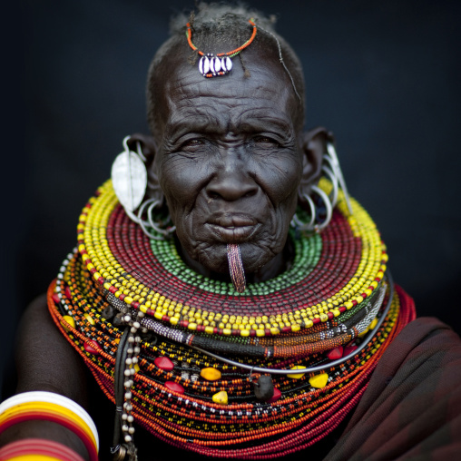 Portrait of a Turkana tribe woman with huge necklaces, Rift Valley Province, Turkana lake, Kenya