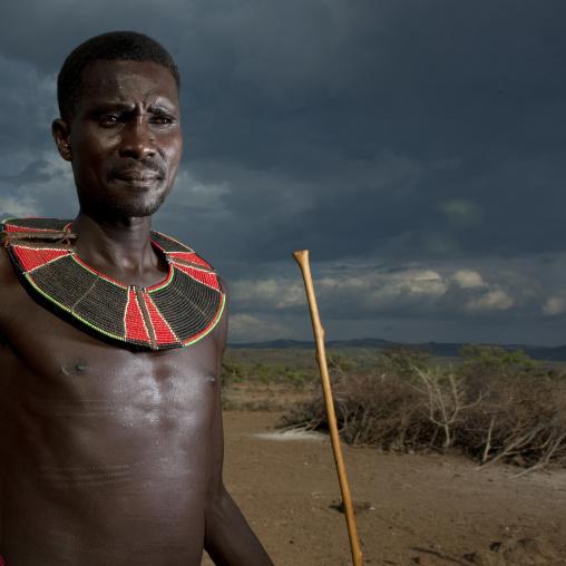 Portrait of a Pokot tribe man with a beaded necklace, Baringo County, Baringo, Kenya