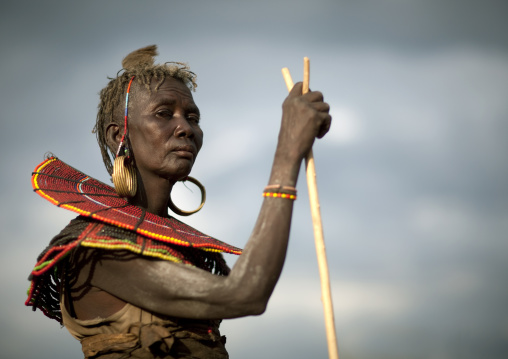 Portrait of a Pokot tribe woman with huge necklaces and earrings, Baringo County, Baringo, Kenya