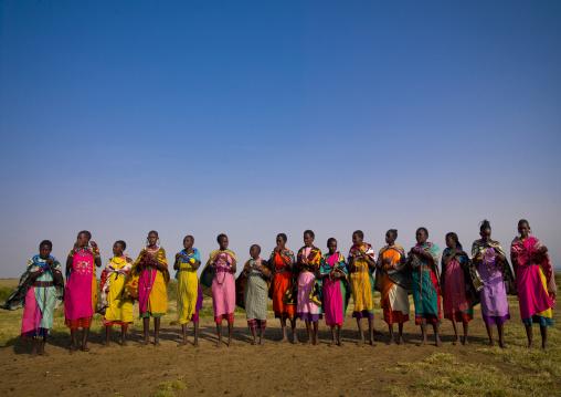 Maasai tribeswomen in traditional maasai clothing, Nakuru county, Nakuru, Kenya