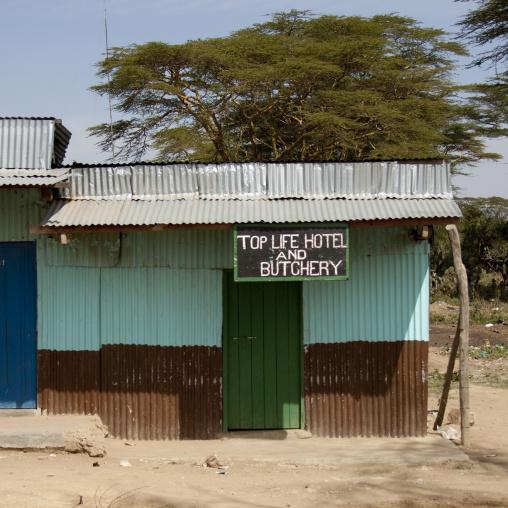 Hotel and butchery shop, Rift Valley Province, Maasai Mara, Kenya