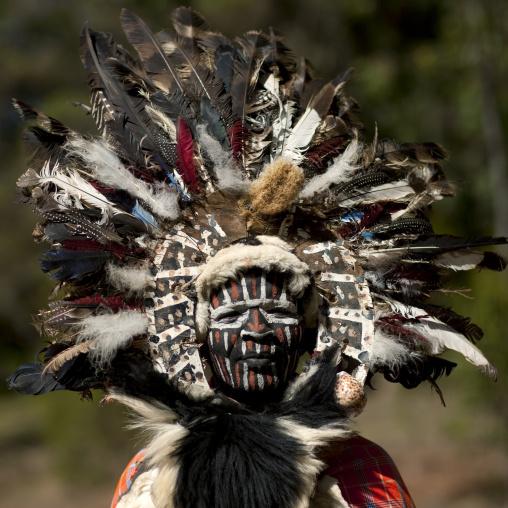 Portrait of a Kikuyu tribe warrior with traditional make up, Laikipia County, Thomson waterfalls, Kenya