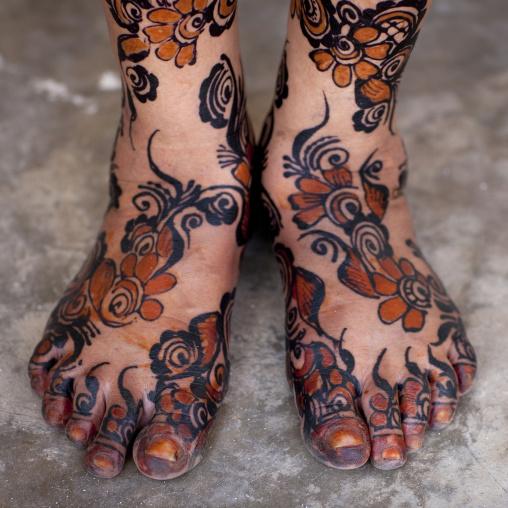 Patterns made with henna on feet, Lamu County, Lamu, Kenya