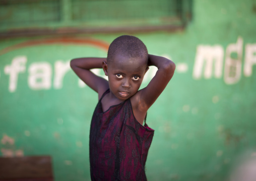 Kenyan boy looking at camera, Lamu County, Lamu, Kenya