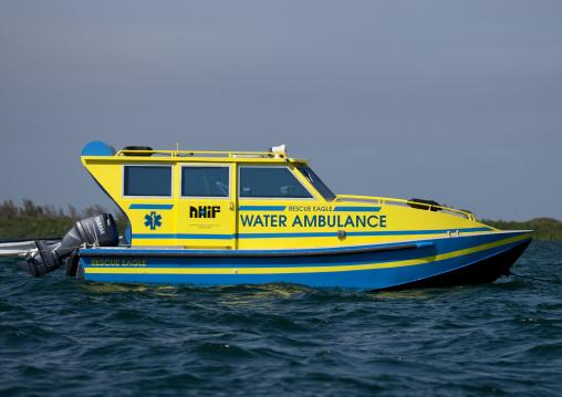 Ambulance boat in the port, Lamu County, Lamu, Kenya