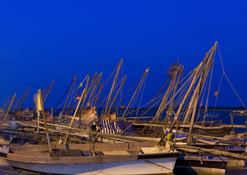 Dhows standing in the port by night, Lamu County, Lamu, Kenya