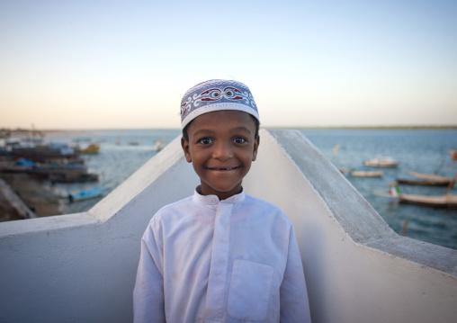 Little muslim boy wearing kofia hat, Lamu County, Lamu, Kenya