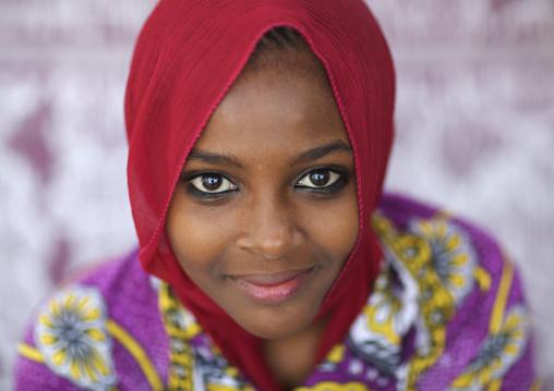 Portrait of a cute swahili girl with kohl on the eyes, Lamu County, Lamu, Kenya
