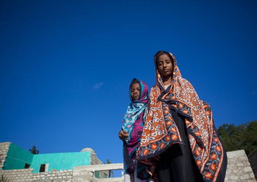 Teenage girls into colorful veils, Lamu county, Matondoni, Kenya