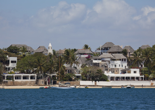 Luxury villas and stone townhouses view from the sea, Lamu County, Shela, Kenya