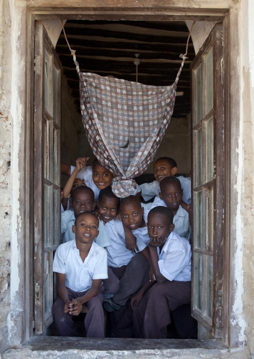 Group of schoolboys in stonetown academy, Lamu County, Lamu, Kenya