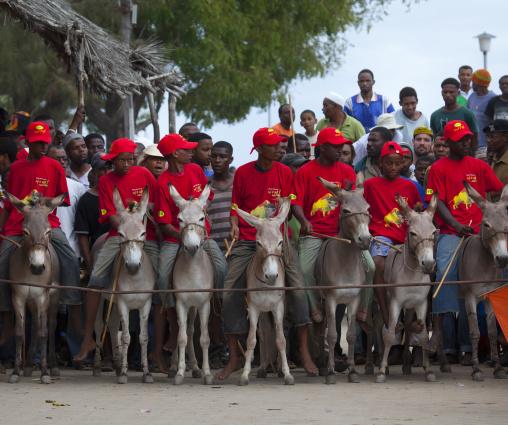 Donkey race in town during Maulid festival, Lamu county, Lamu, Kenya