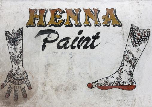 Henna paint sign on a shop, Lamu County, Lamu, Kenya