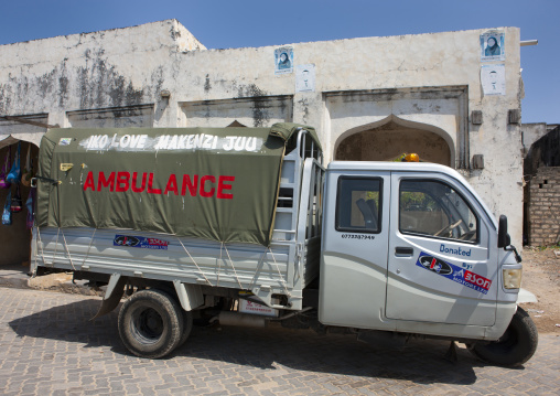 Ambulance in the street, Lamu County, Lamu, Kenya