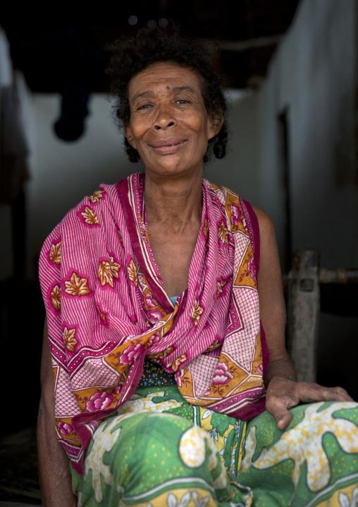 Portrait of a woman with colorful clothing, Lamu County, Siyu, Kenya