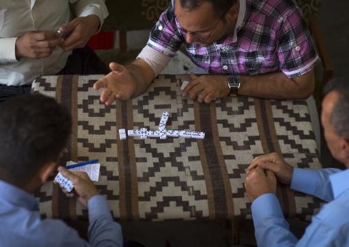 Kurdish Men Playing Dominoes, Erbil, Kurdistan, Iraq