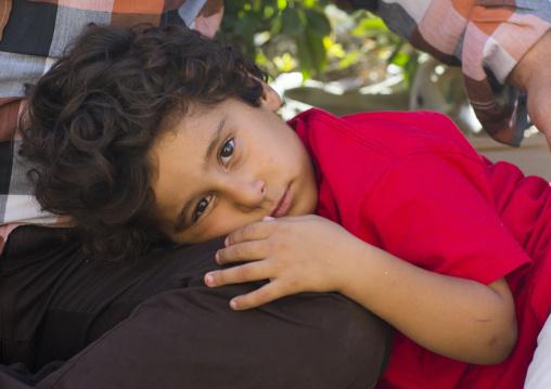 Kid Resting On His Father Leg, Erbil, Kurdistan, Iraq