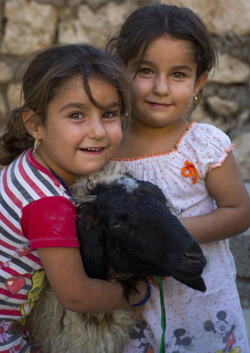 Yazidi Twins With A Sheep In The Temple City Of Lalesh, Kurdistan, Iraq