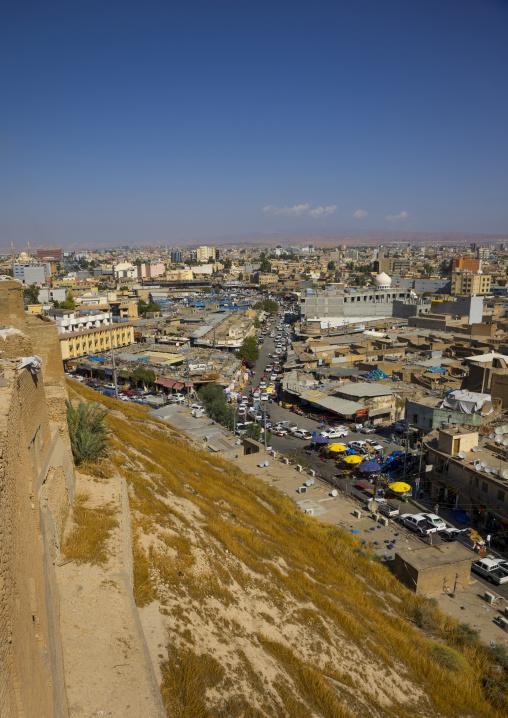 Looking Across Old Town Towards The Citadel, Erbil, Kurdistan, Iraq