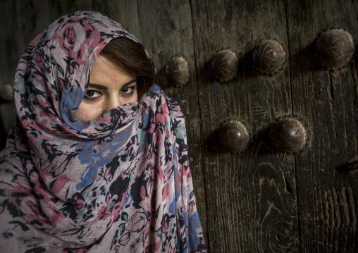 Woman With Beautiful Eyes Hidding Behind A Veil, Koya, Kurdistan, Iraq
