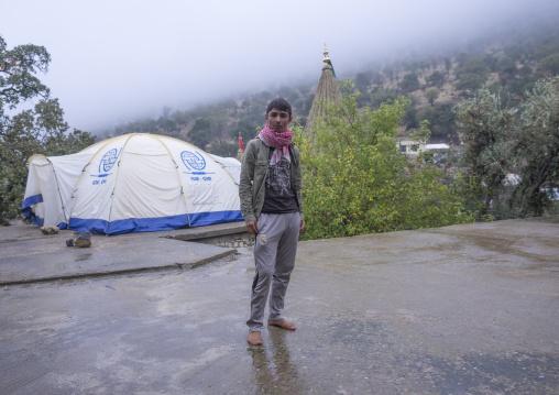 Yezedi Refugee Teenager Displaced  From Sinjar Living In Lalesh Temple, Kurdistan, Iraq