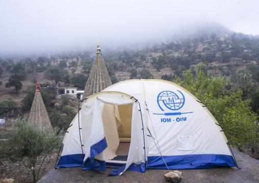 Yezedi Refugees Tents From Sinjar Living In Lalesh Temple, Kurdistan, Iraq