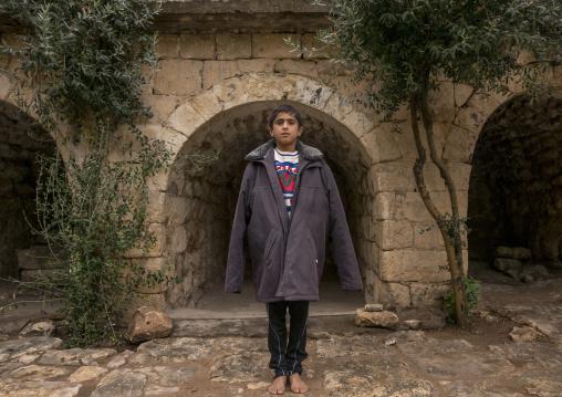 Yezedi Refugee Boy Displaced  From Sinjar Living In Lalesh Temple, Kurdistan, Iraq