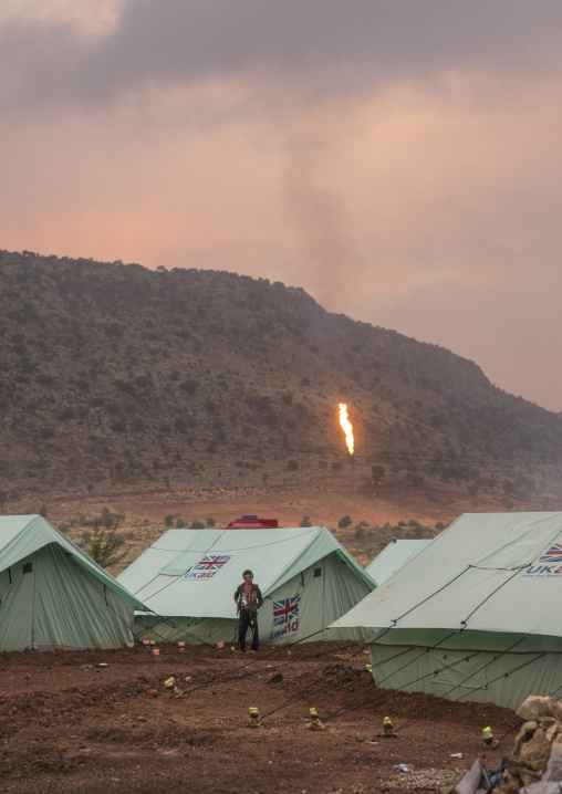 Yezedi Refugee Camp In Front Of An Oil Field, Lalesh, Kurdistan, Iraq