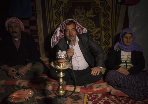 Yezedi Refugee From Sinjar Smoking, Duhok, Kurdistan, Iraq