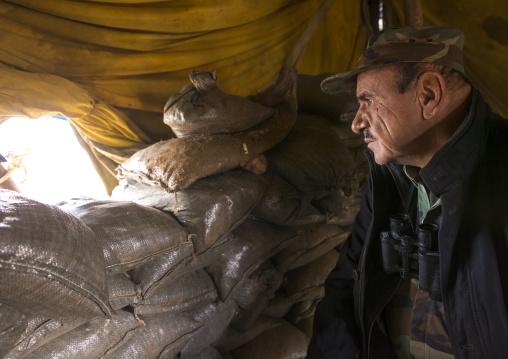 Kurdish General In A Shelter On The Frontline, Duhok, Kurdistan, Iraq