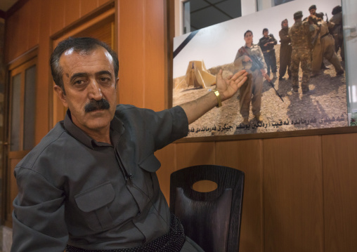 Yousuf Majid With A Picture Of His Daughter, Peshmerga Captain Rangin Yousuf Killed By Daesh, Sulaymaniyah, Kurdistan, Iraq
