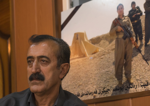 Yousuf Majid With A Picture Of His Dead Daughter, Peshmerga Captain Rangin Yousuf, Sulaymaniyah, Kurdistan, Iraq