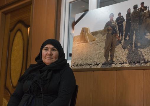 Nasrin Hamalaw With A Picture Of Her Dead Daughter, Peshmerga Captain Rangin Yousuf, Sulaymaniyah, Kurdistan, Iraq