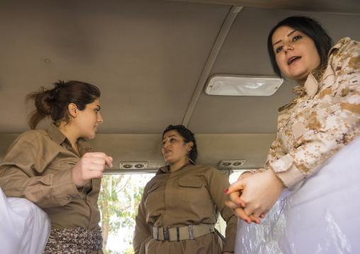 Peshmergas Women Of The 2Nd Battalion Going To The Frontline, Sulaymaniyah, Kurdistan, Iraq