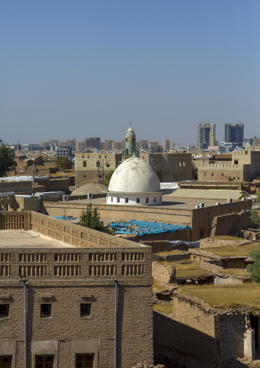 Old Houses With Flat Roofs And Mosque Inside The Citadel, Erbil, Kurdistan, Iraq